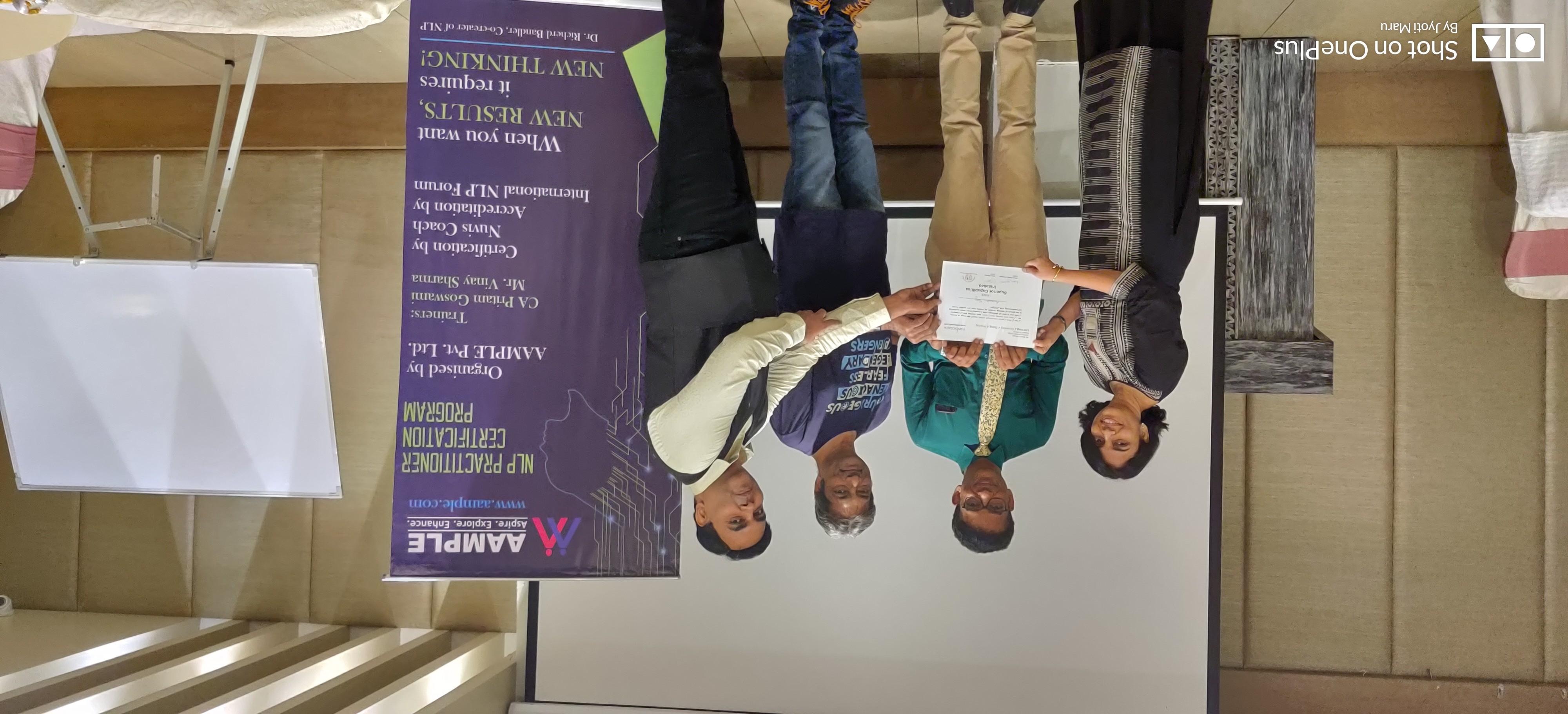 NLP Practitioner certificate in Vadodara